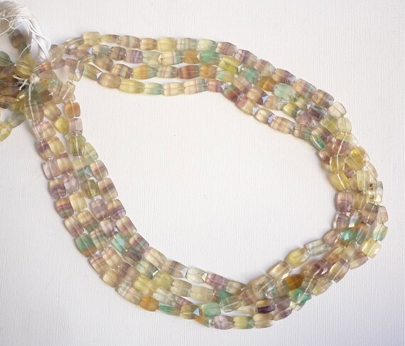 Extra Long 20 Inches Of Superb Quality Colorful Banded Fluorite Rectangle Beads