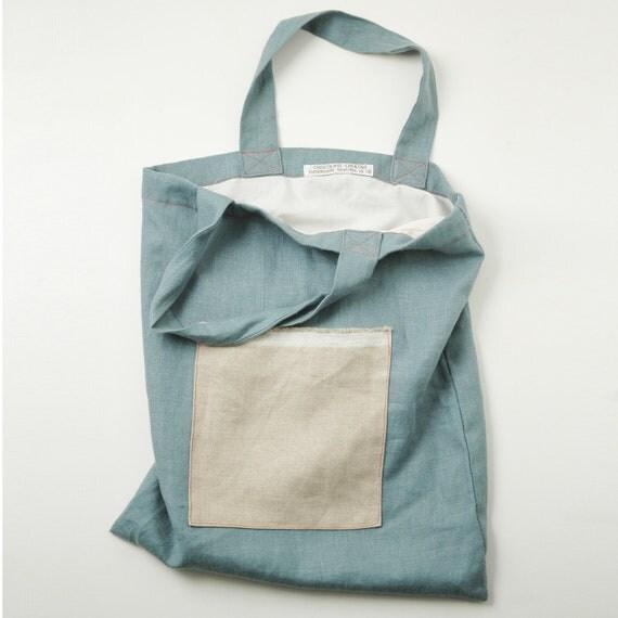 Blue natural linen tote bag