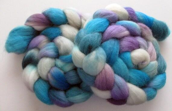 Soft ocean blue - Corriedale Wool Roving (Top) - Handpainted Spinning or Felting Fiber, 4 ounces