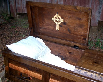 Free Shipping - Hand Built Reclaimed Wood Celtic Custom Casket