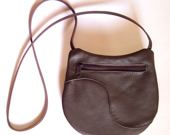 Brown Leather Purse - Crossbody Style - Medium Round Festival Bag - Dark Brown Leather Handbag