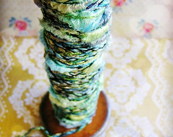 Mint and Aqua Pearl Tinsel Cording striped shimmer pearl ribbon rayon trim - elegant embellishment craft wrap wedding supply - 5 yards