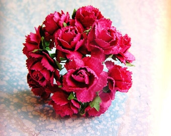 Raspberry Pink Peonies Vintage style Millinery Flower Bouquet - for decorating, gift wrapping, weddings, party supply, holiday