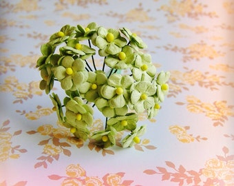 Chartreuse green forget me nots Vintage style Millinery Flower Bouquet - for decorating, gift wrapping, weddings, party supply, holiday