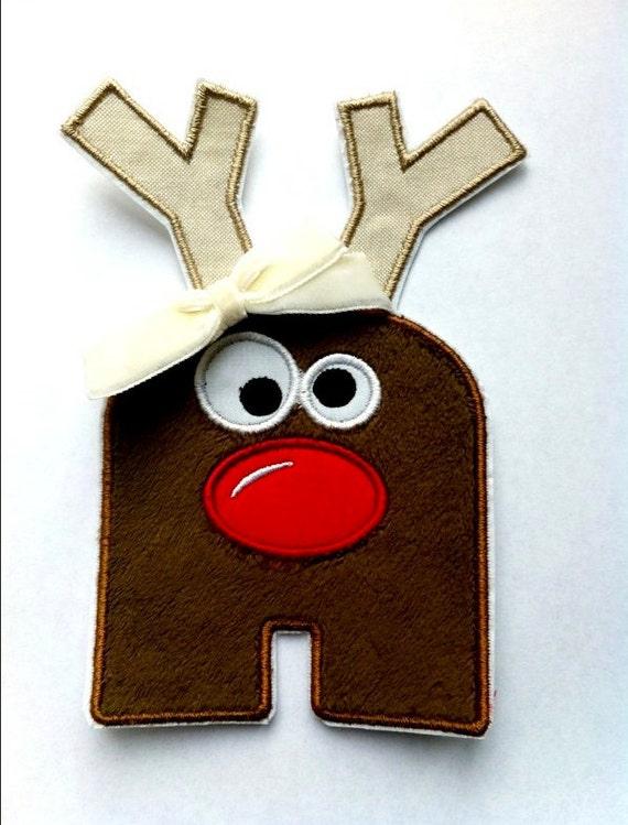 Custom Reindeer Letter DIY Iron on Applique- Red Nose