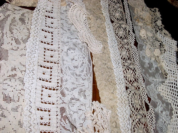 SALE- Lot of 30 Plus, Antique & Vintage Crochet Lace and  Edging Pieces for Sewing Project,  Supply Remnants For Repurposing