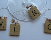 Scrabble Wine Charms or Markers VINO Set of 4 vintage wooden letters choose beads