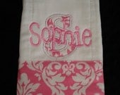 Sophie Pink Dandy Damask Personalized Burp-Name or upto 3 initials