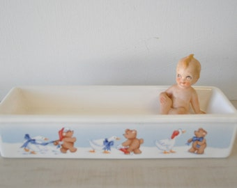 vintage 80s House of Lloyd Christmas Teddy Bear and Duck milk glass tray--holiday decor/serving