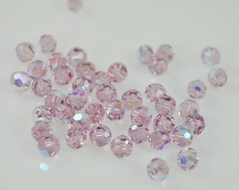 25 Light Amethyst AB Swarovski Crystals - 6mm Round