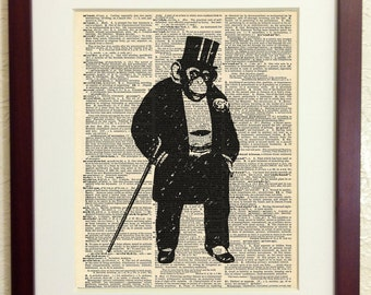 Geeky Suit Wearing Monkey Art Print on Vintage Antique Dictionary Paper - Digital Collage - Ape - Chimp