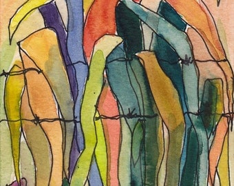 Art  Painting Watercolor Tropical Leaves Barbed Wire Landscape Foliage Caribbean ORIGINAL
