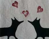 Fox in Love Flour Sack Dish Towel Tea Stained Screen Printed