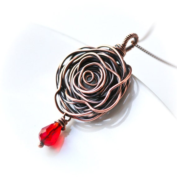 Copper Rose Wire Wrapped Pendant Necklace - SALE 15% Off