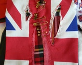 London Calling Cravat - Punk British Flag and Tartan Fabric Cravat. Steampunk Tie. Punk Tartan.