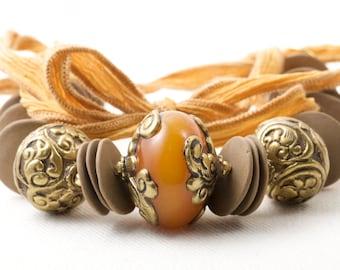 Spring Statement Necklace African Amber Mustard Honey Tibetan Focal Ceramic Ribbon Women Necklace
