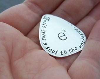 Music Gifts for Him - Personalized Guitar Pick - Custom Hand Stamped, Engraved Sterling Silver Plectrum by Eclectic Wendy Designs