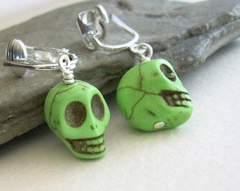 Lime Green Skull Clip On Earrings, Skeleton Jewelry, Unpierced Earrings
