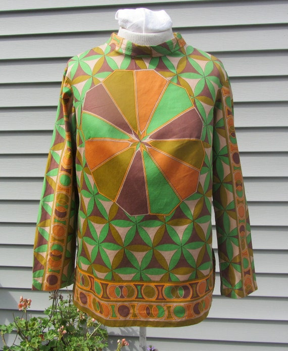 Vintage 60s Womens Shirt Blouse Long Sleeve  Alex Coleman of California Size 8 10