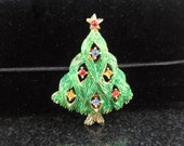 Forest Green Vintage J.J. Christmas Tree Pin