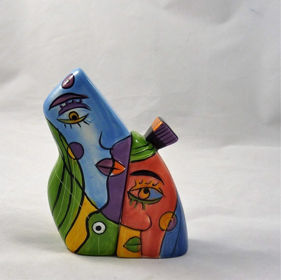 Picasso style salt and pepper shakers very colorful Colorful salt and pepper shakers
