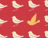 Red Oh Deer Birds Print 100% Cotton Quilting Fabric