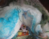 CUSTOM Sea Cake ... A Blue n White cake batt made to your specifications ...Hand Washed ... Hand Dyed ... Hand Carded ... Wool, Fiber