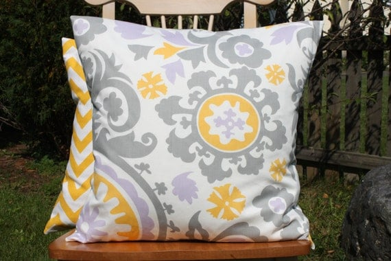Modern Pillow Covers Etsy : Items similar to Modern Yellow, Grey and Lavender Pillow Cover on Etsy