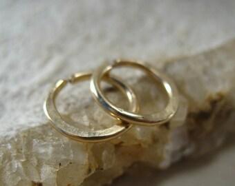 Gauged Hoop Earrings Gold Hammered - Nipple Rings, Mens Hoops, 16 Gauge Hoops, 14 Gauge Hoops, Thick Gauge Hoops, Piercing Hoops, Stretcher