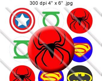 Supehero Logos Bottle Cap Digital Images 1 Inch Circles JPEG Boy - Instant Download - BC362
