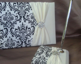 Damask Guest Book and Pen Set Black White Ivory Rhinestone
