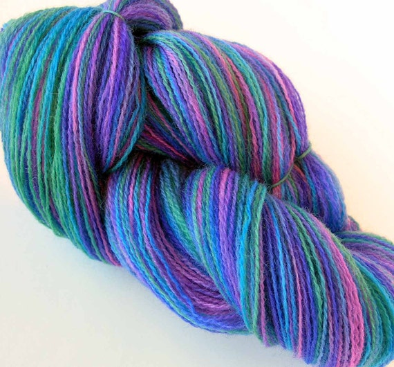 Hand Dyed Yarn Wool Lace Yarn Violet Heather by FiberFusion