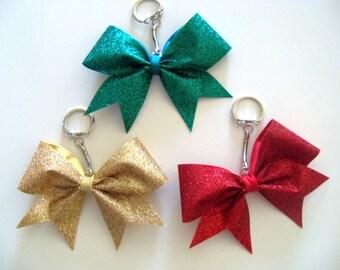 Glimmer Glitter Cheer Bow Key Chain