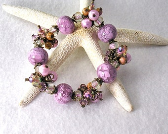 Lavender Confection, Lampwork bracelet, stretch bracelet, Charm Bracelet, Lampwork beads, Swarovski crystal, glass pearls, By Xanna