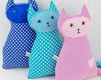 Navy Polka Dot Cat Toy,  Vegan Friendly, Green Plaid, Newborn Toy