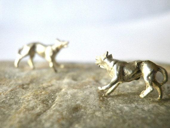 Dog ear studs Tiny earrings  Sterling silver Miniature Minimal design Animal jewelry