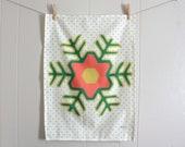 Holiday Folk Flower - Linen Cotton blend Tea Towel 18 x 24 inch