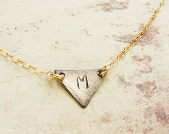 Personalized jewelry, Initial necklace Personalized gift, Monogram triangle initial necklace, geometric initial, gift for teen girls
