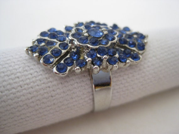 Blue Silver Ring Cocktail Rhinestone Vintage Adjustable