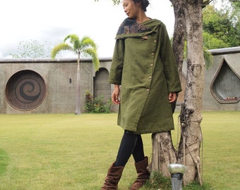 Being winter coat dress...Green linen/ 2 layers (fits S-L)