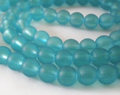 25pcs - 8mm Frosted Sea Blue round Glass beads