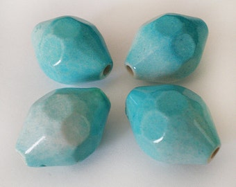 23x16mm Deep Sky Blue faceted bicone acrylic beads - 6pcs