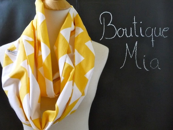 PERFECT GIFT - Infinity SCARF - Riley Blake - Yellow and White Chevron - Quilters Cotton - by Boutique Mia
