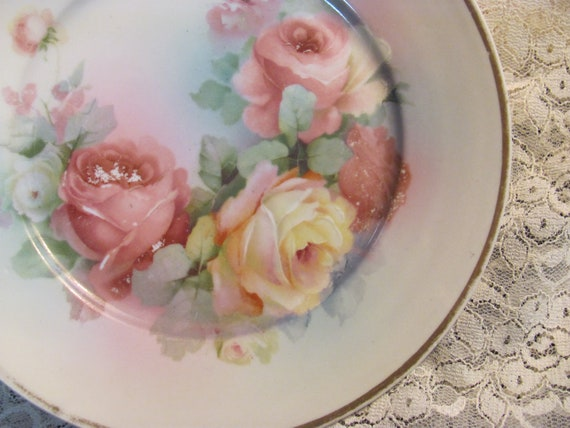 Vintage Plate with Roses, Wonderful for Mix and Match Collection