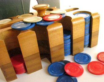Vintage Wood Poker Chip Caddy