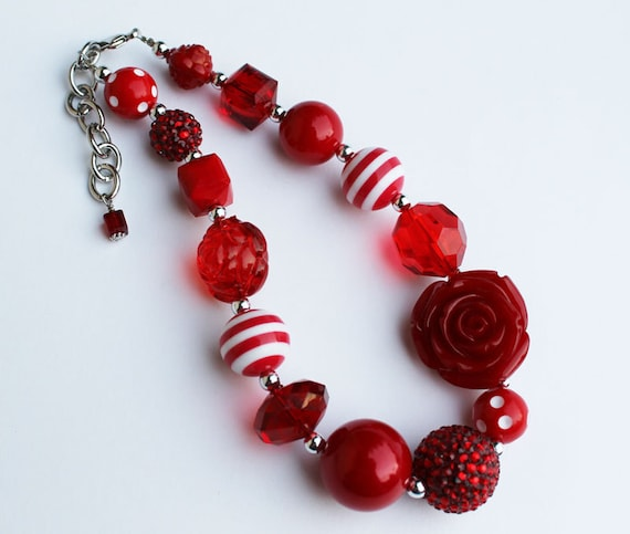 Custom listing for rishbou Red Rose Chunky Necklace for girls
