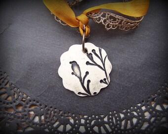 Halloween Black Bird on Branch Clay Ribbon Necklace
