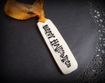 Happy Halloween Clay Ribbon Necklace