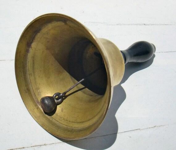 Vintage Brass Hand Bell - Antique School Teacher, Dinner, Musical Bell