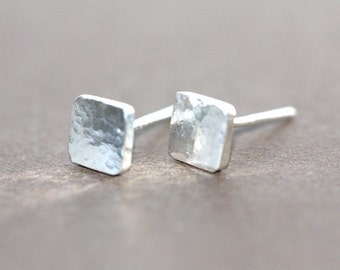 Tiny sweet Sterling Silver square organic stud earrings
